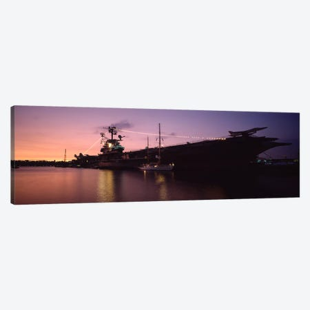 USS Intrepid At Night, Intrepid Square, New York City, New York, USA Canvas Print #PIM7155} by Panoramic Images Canvas Wall Art