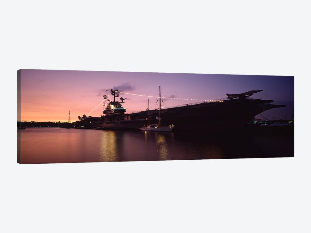USS Intrepid At Night, Intrepid Square, New York City, New York, USA by Panoramic Images 1-piece Art Print