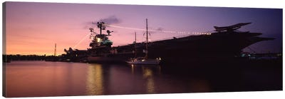 USS Intrepid At Night, Intrepid Square, New York City, New York, USA Canvas Art Print