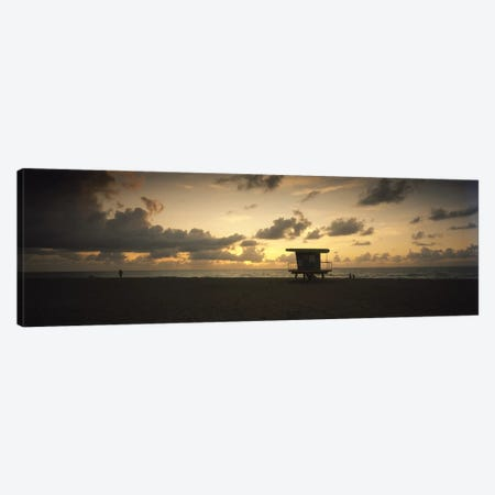 Silhouette of a lifeguard hut on the beach, South Beach, Miami Beach, Miami-Dade County, Florida, USA Canvas Print #PIM7158} by Panoramic Images Canvas Art Print