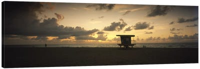 Silhouette of a lifeguard hut on the beach, South Beach, Miami Beach, Miami-Dade County, Florida, USA Canvas Art Print