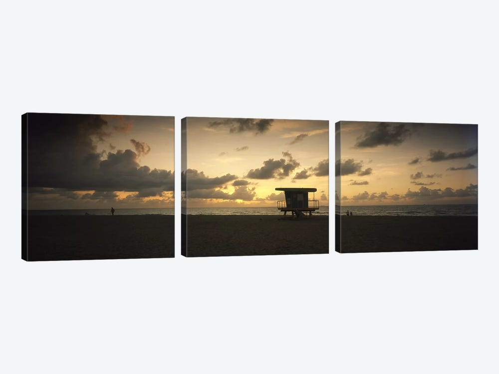 Silhouette of a lifeguard hut on the beach, South Beach, Miami Beach, Miami-Dade County, Florida, USA by Panoramic Images 3-piece Canvas Art