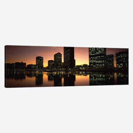 Buildings lit up at dusk, Oakland, Alameda County, California, USA Canvas Print #PIM7159} by Panoramic Images Canvas Print