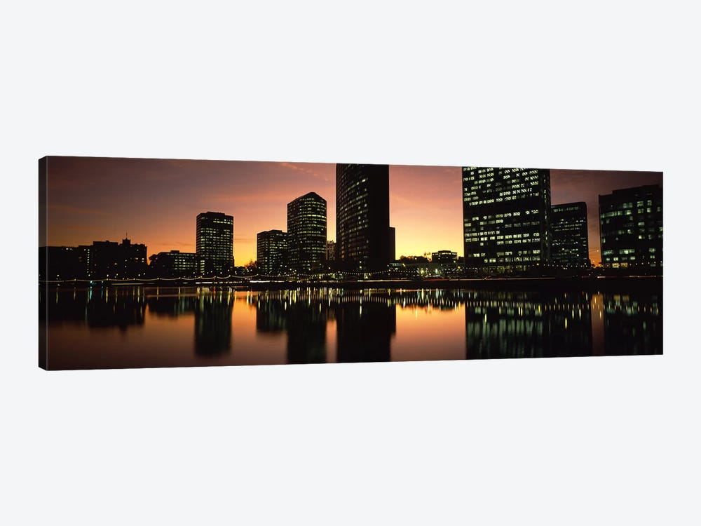 Buildings lit up at dusk, Oakland, Alameda County, California, USA by Panoramic Images 1-piece Canvas Print