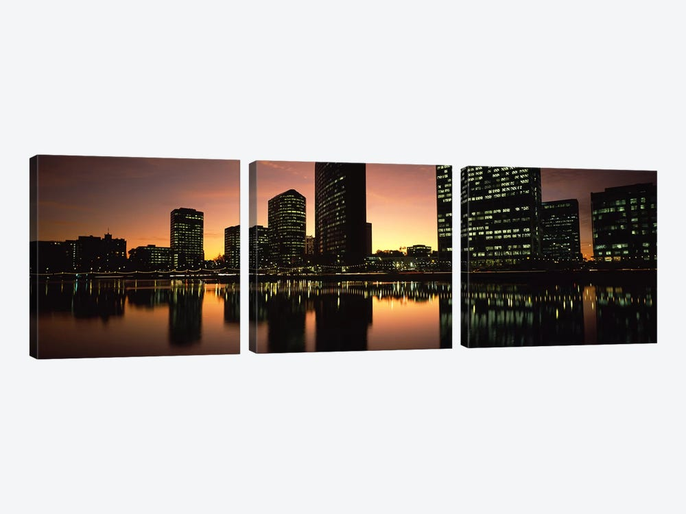 Buildings lit up at dusk, Oakland, Alameda County, California, USA by Panoramic Images 3-piece Canvas Art Print