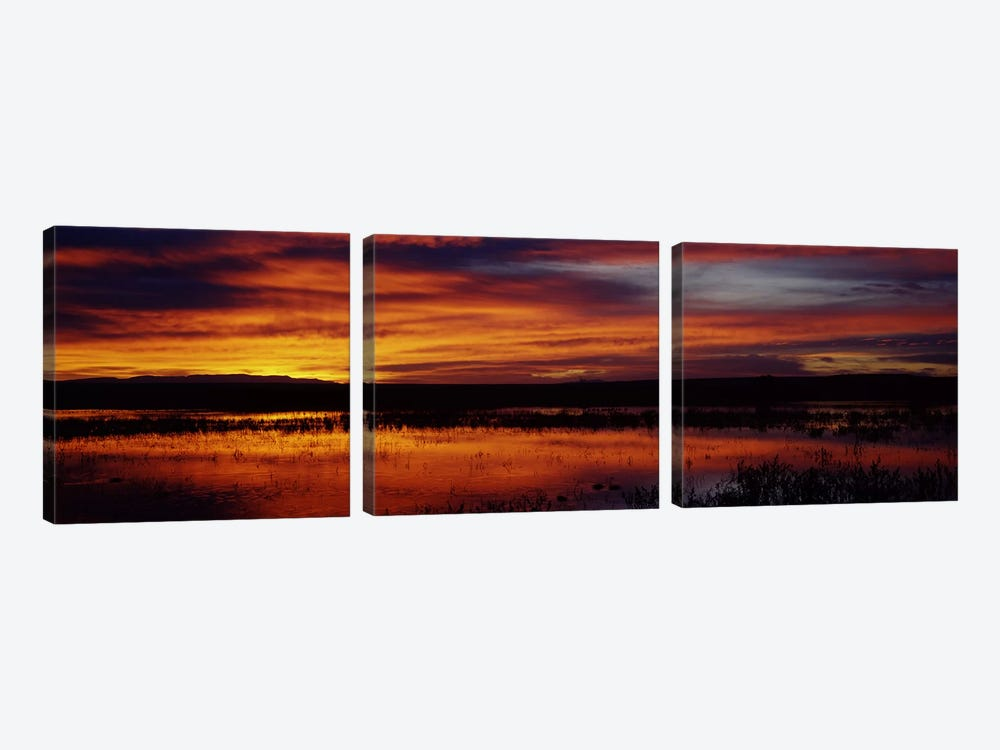 Majestic Cloudy Sunrise, Bosque del Apache National Wildlife Refuge, Socorro County, New Mexico, USA by Panoramic Images 3-piece Canvas Artwork