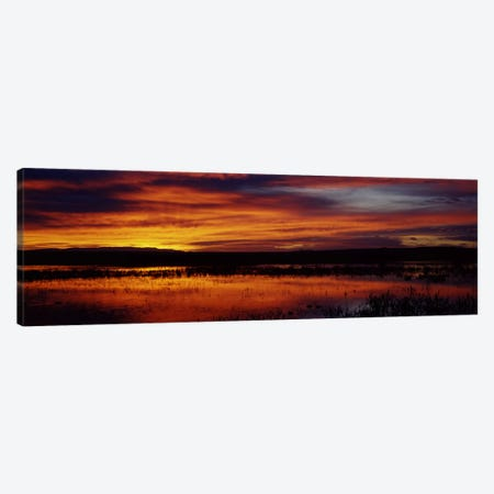 Majestic Cloudy Sunrise, Bosque del Apache National Wildlife Refuge, Socorro County, New Mexico, USA Canvas Print #PIM7161} by Panoramic Images Canvas Artwork