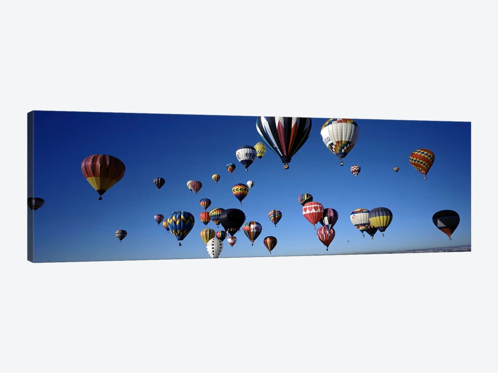 Hot air balloons floating in skyAlbuquerque International Balloon Fiesta, Albuquerque, Bernalillo County, New Mexico, USA 1-piece Canvas Print