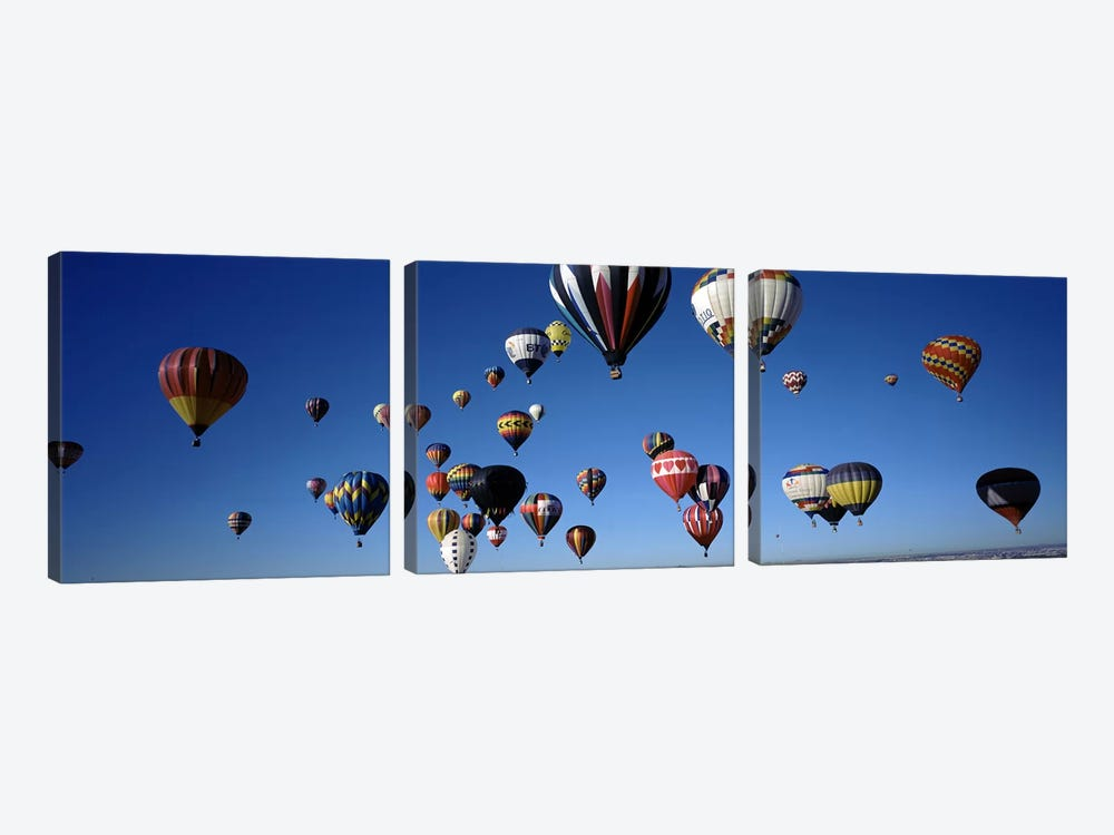 Hot air balloons floating in skyAlbuquerque International Balloon Fiesta, Albuquerque, Bernalillo County, New Mexico, USA 3-piece Canvas Art Print
