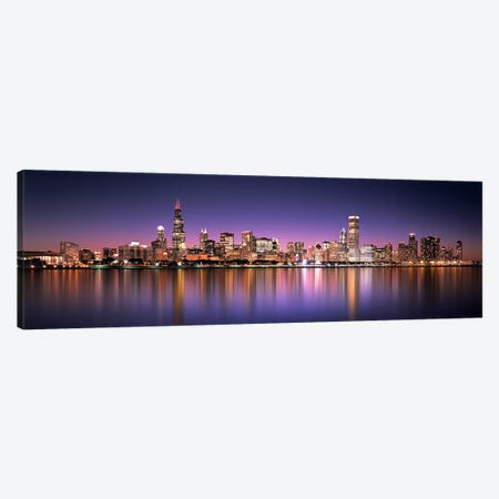 Reflection of skyscrapers in a lake, Lake Michigan, Digital Composite, Chicago, Cook County, Illinois, USA Canvas Print #PIM7163} by Panoramic Images Canvas Wall Art