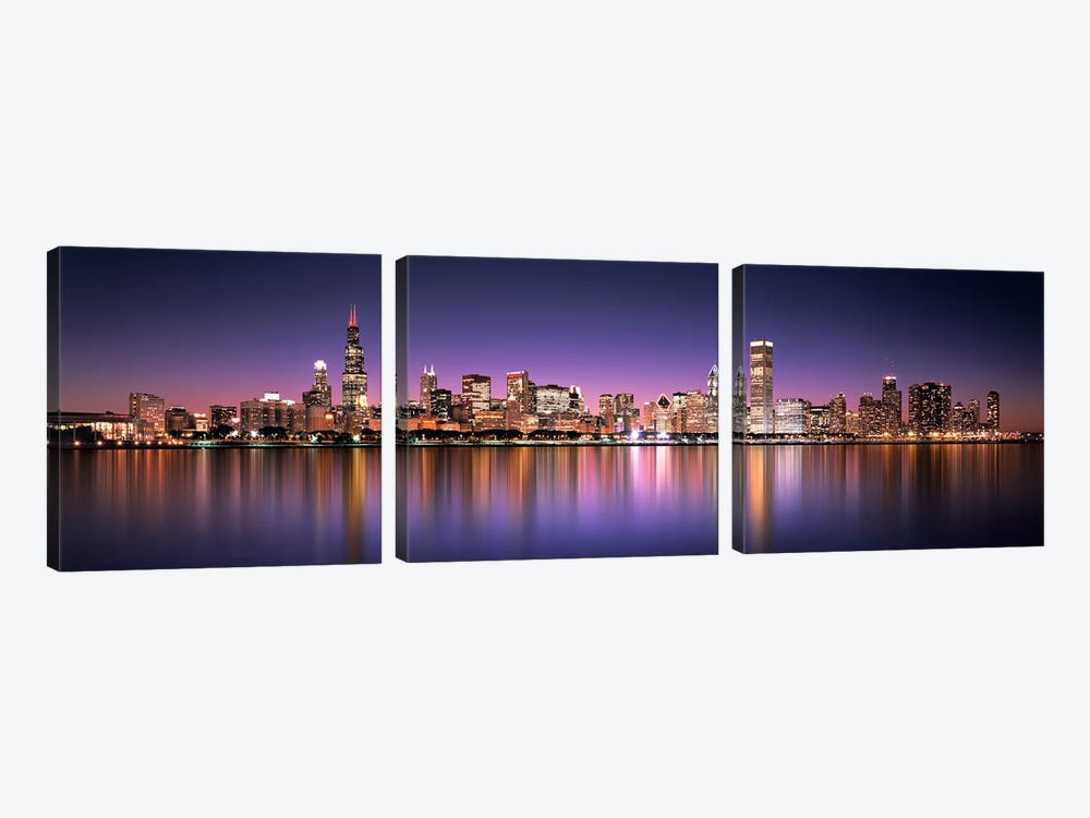 Reflection of skyscrapers in a lake, Lake Michigan, Digital Composite, Chicago, Cook County, Illinois, USA by Panoramic Images 3-piece Canvas Wall Art