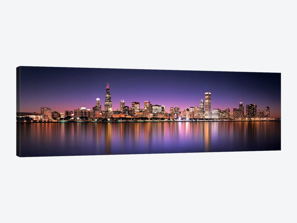 Reflection of skyscrapers in a lake, Lake Michigan, Digital Composite, Chicago, Cook County, Illinois, USA by Panoramic Images 1-piece Canvas Wall Art