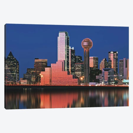 Reflection of skyscrapers in a lake, Digital Composite, Dallas, Texas, USA Canvas Print #PIM7164} by Panoramic Images Canvas Art Print