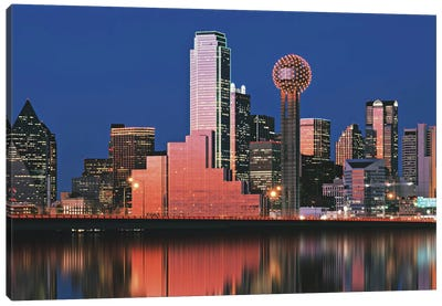 Reflection of skyscrapers in a lake, Digital Composite, Dallas, Texas, USA Canvas Art Print