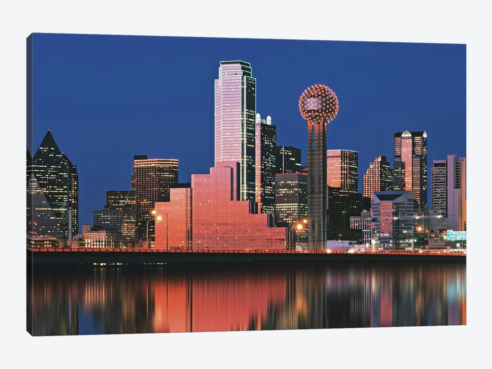 Reflection of skyscrapers in a lake, Digital Composite, Dallas, Texas, USA 1-piece Canvas Art Print