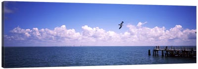 Pier over the sea, Fort De Soto Park, Tampa Bay, Gulf of Mexico, St. Petersburg, Pinellas County, Florida, USA Canvas Print #PIM7167