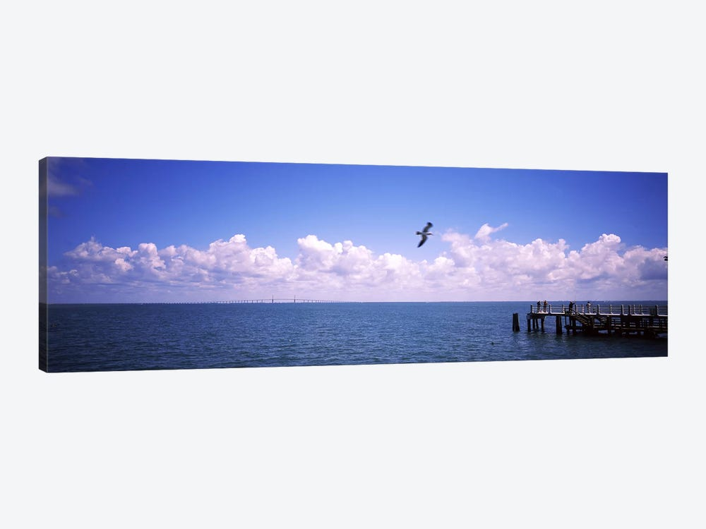 Pier over the sea, Fort De Soto Park, Tampa Bay, Gulf of Mexico, St. Petersburg, Pinellas County, Florida, USA by Panoramic Images 1-piece Canvas Artwork