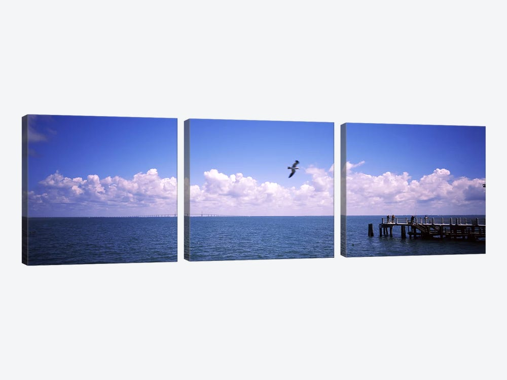 Pier over the sea, Fort De Soto Park, Tampa Bay, Gulf of Mexico, St. Petersburg, Pinellas County, Florida, USA by Panoramic Images 3-piece Canvas Art