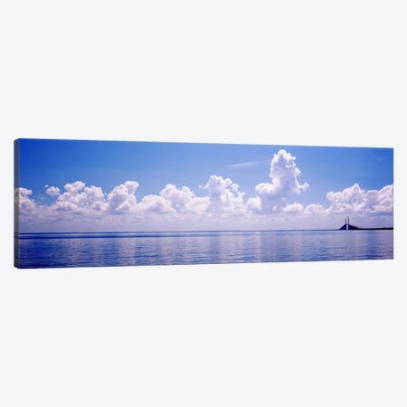 Seascape with a suspension bridge in the background, Sunshine Skyway Bridge, Tampa Bay, Gulf of Mexico, Florida, USA Canvas Print #PIM7170} by Panoramic Images Art Print
