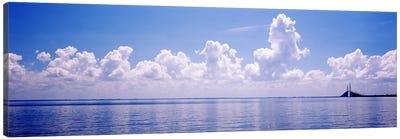 Seascape with a suspension bridge in the background, Sunshine Skyway Bridge, Tampa Bay, Gulf of Mexico, Florida, USA Canvas Print #PIM7170