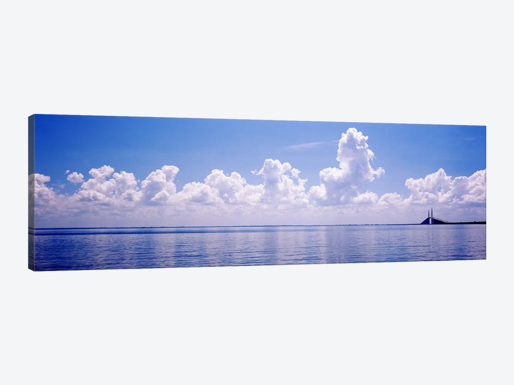 Seascape with a suspension bridge in the background, Sunshine Skyway Bridge, Tampa Bay, Gulf of Mexico, Florida, USA by Panoramic Images 1-piece Canvas Wall Art
