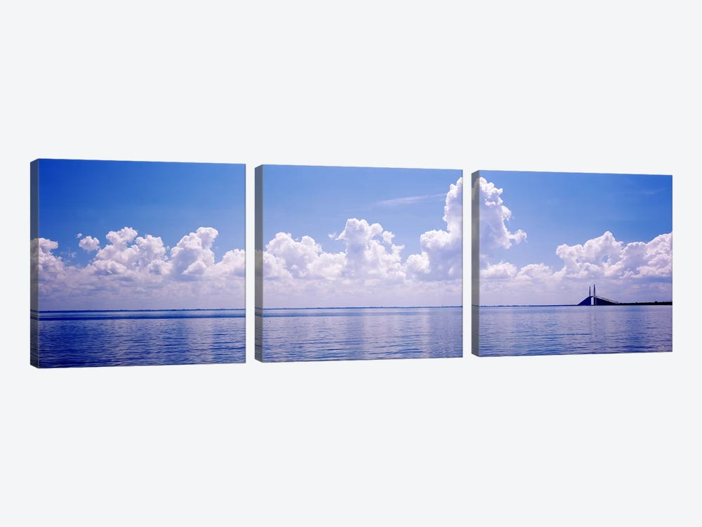 Seascape with a suspension bridge in the background, Sunshine Skyway Bridge, Tampa Bay, Gulf of Mexico, Florida, USA by Panoramic Images 3-piece Canvas Wall Art