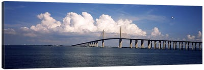 Suspension bridge across the bay, Sunshine Skyway Bridge, Tampa Bay, Gulf of Mexico, Florida, USA Canvas Art Print