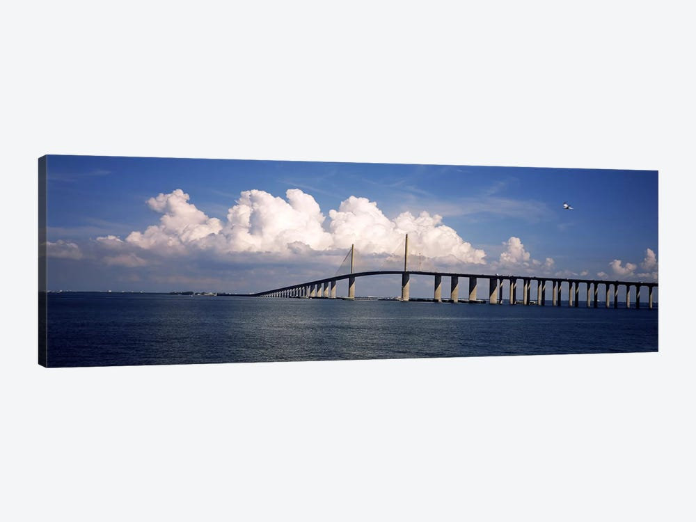 Suspension bridge across the bay, Sunshine Skyway Bridge, Tampa Bay, Gulf of Mexico, Florida, USA 1-piece Canvas Print