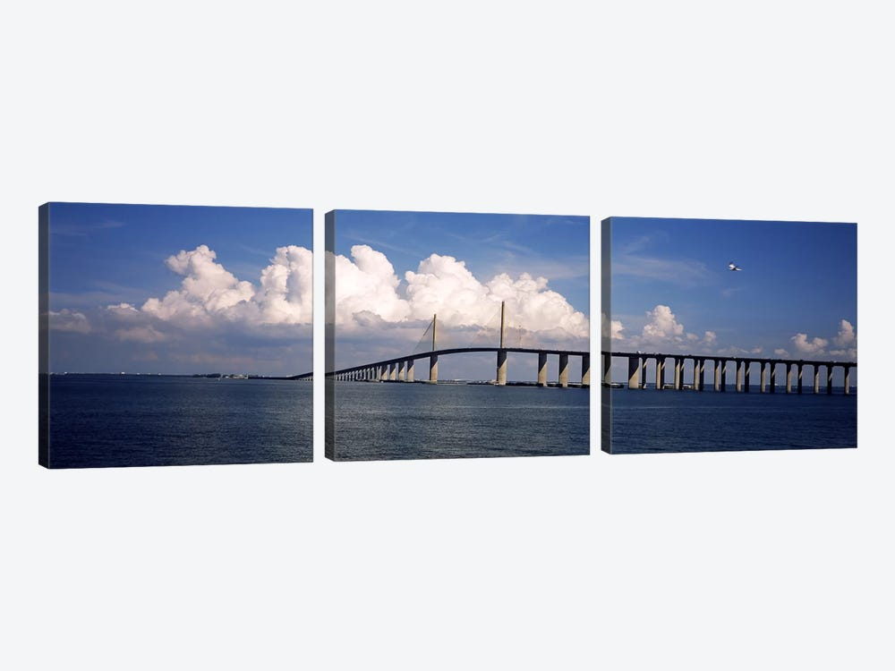 Suspension bridge across the bay, Sunshine Skyway Bridge, Tampa Bay, Gulf of Mexico, Florida, USA by Panoramic Images 3-piece Art Print