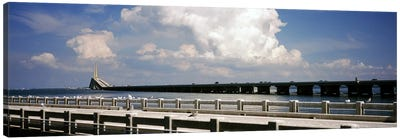 Bridge across a bay, Sunshine Skyway Bridge, Tampa Bay, Gulf of Mexico, Florida, USA Canvas Art Print