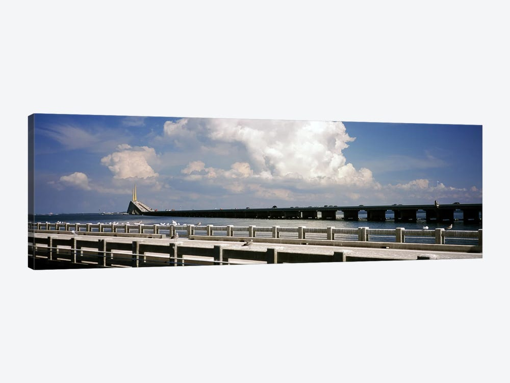 Bridge across a bay, Sunshine Skyway Bridge, Tampa Bay, Gulf of Mexico, Florida, USA by Panoramic Images 1-piece Canvas Wall Art
