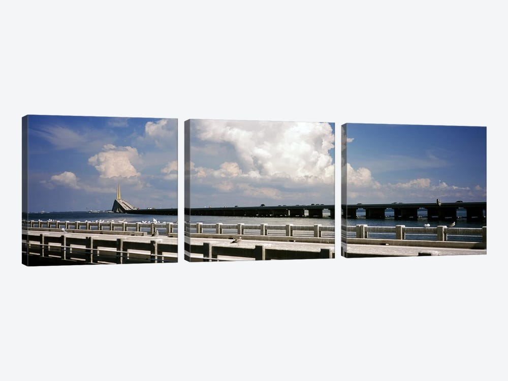 Bridge across a bay, Sunshine Skyway Bridge, Tampa Bay, Gulf of Mexico, Florida, USA by Panoramic Images 3-piece Canvas Wall Art