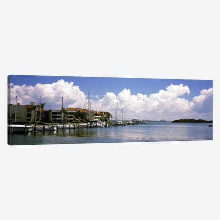 Boats docked in a bay, Cabbage Key, Sunshine Skyway Bridge in Distance, Tampa Bay, Florida, USA Canvas Print #PIM7173} by Panoramic Images Canvas Print