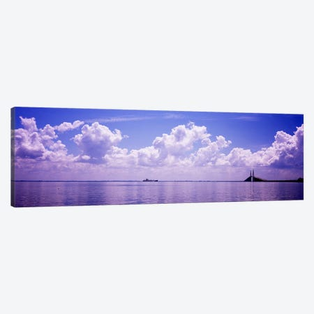 Sea with a container ship and a suspension bridge in distant, Sunshine Skyway Bridge, Tampa Bay, Gulf of Mexico, Florida, USA Canvas Print #PIM7174} by Panoramic Images Canvas Art