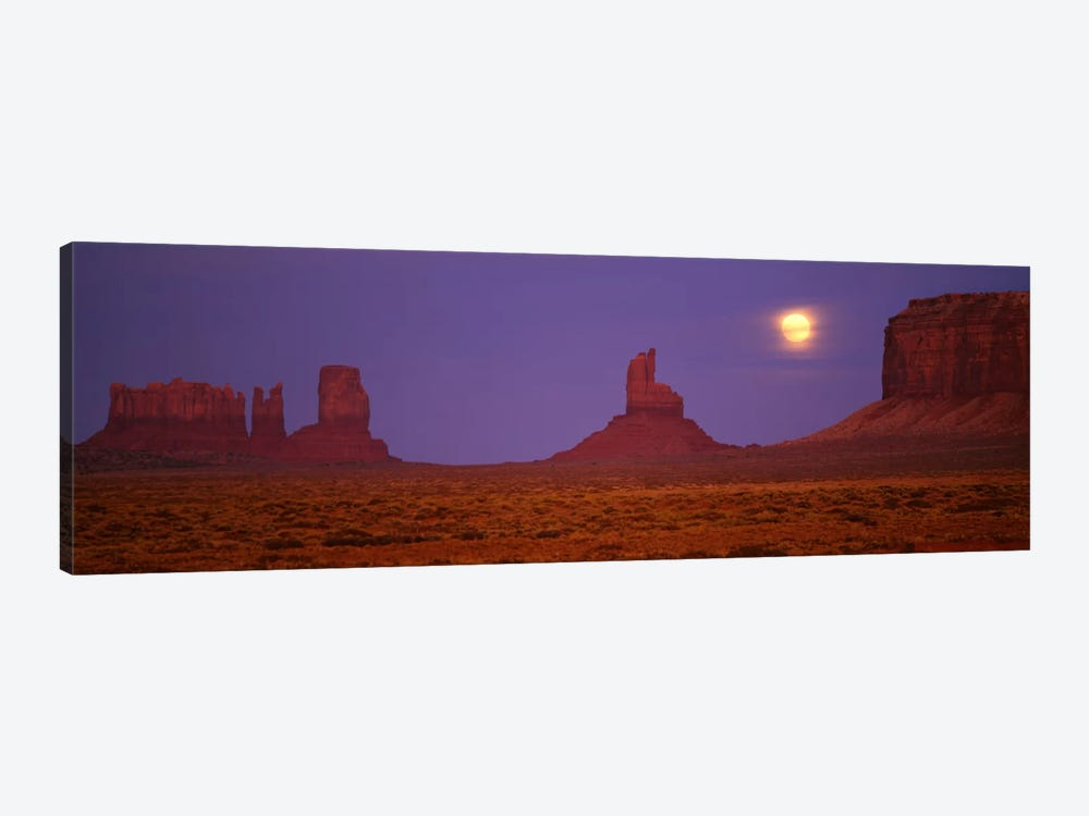 Full Moon Shining Over Monument Valley, Navajo Nation, Arizona, USA by Panoramic Images 1-piece Canvas Print