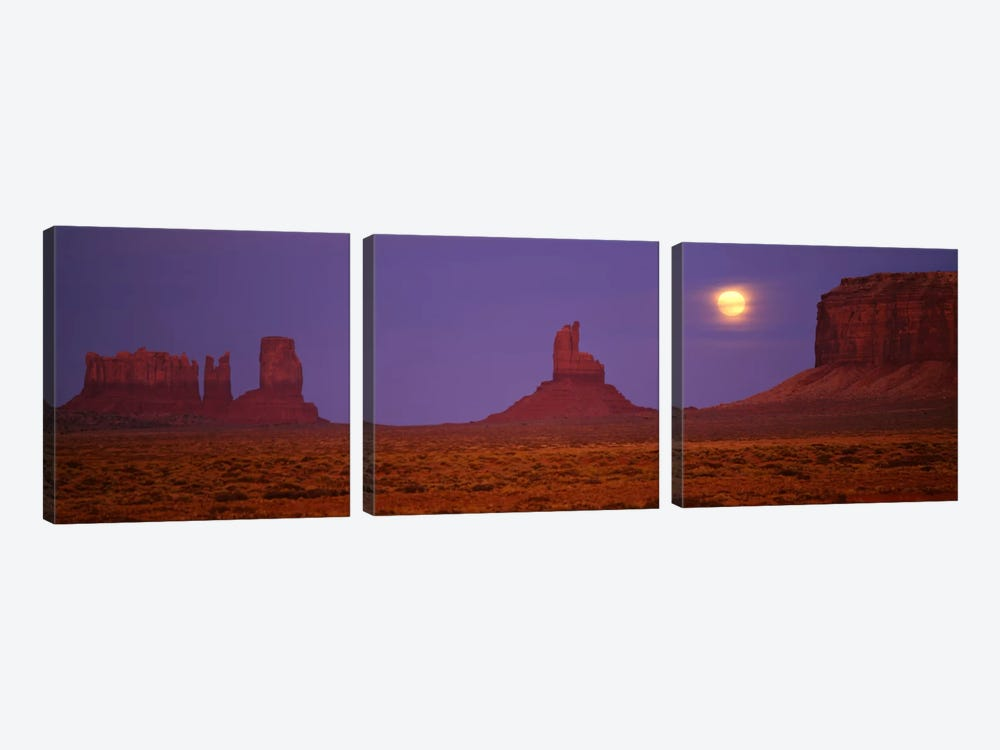 Full Moon Shining Over Monument Valley, Navajo Nation, Arizona, USA by Panoramic Images 3-piece Canvas Print