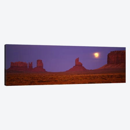 Full Moon Shining Over Monument Valley, Navajo Nation, Arizona, USA 3-Piece Canvas #PIM717} by Panoramic Images Canvas Print