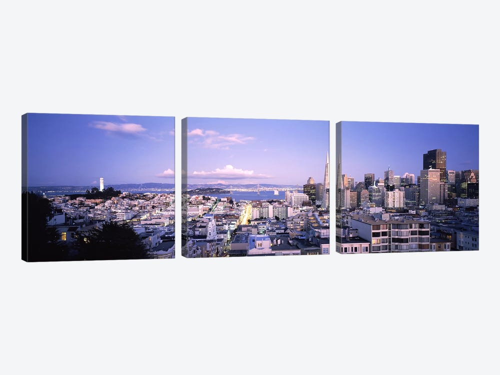 High angle view of a cityscape from Nob Hill, San Francisco, California, USA by Panoramic Images 3-piece Canvas Artwork