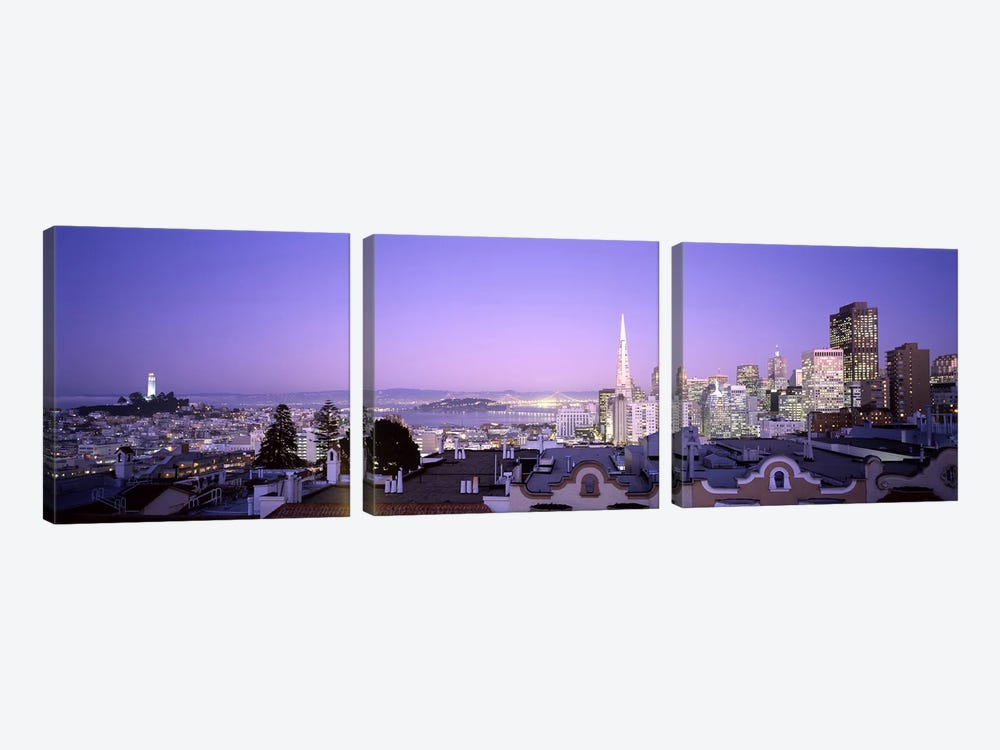 High angle view of a cityscape from Nob Hill, San Francisco, California, USA #2 by Panoramic Images 3-piece Canvas Art Print