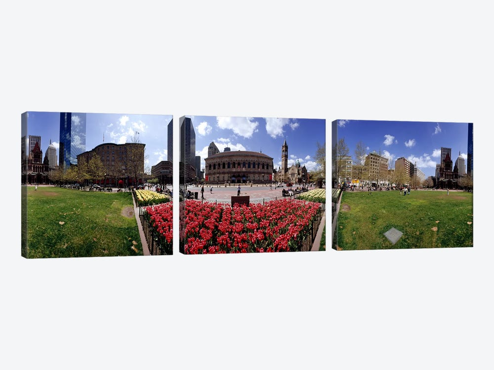 360 degree view of a city, Boston, Suffolk County, Massachusetts, USA by Panoramic Images 3-piece Canvas Wall Art