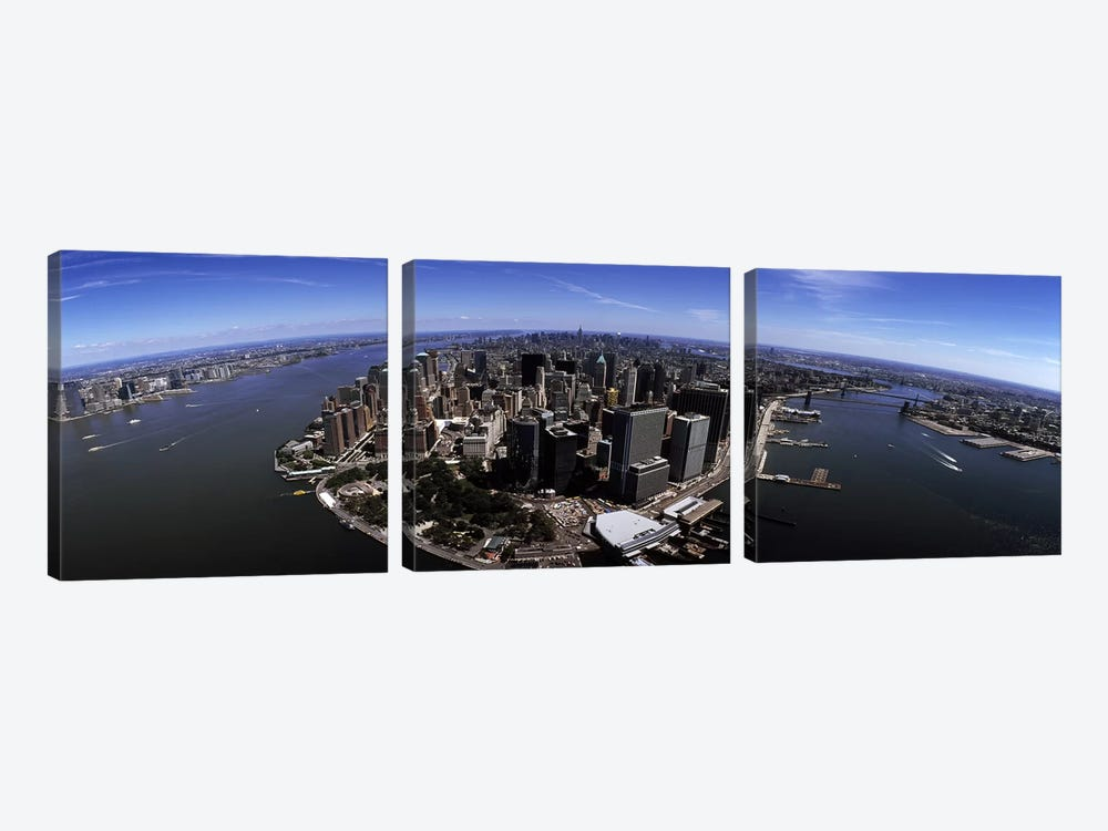 Aerial view of a city, New York City, New York State, USA by Panoramic Images 3-piece Canvas Art