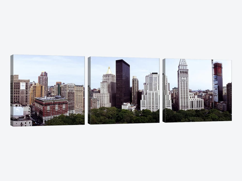 Skyscrapers in a city, Madison Square Park, New York City, New York State, USA by Panoramic Images 3-piece Art Print