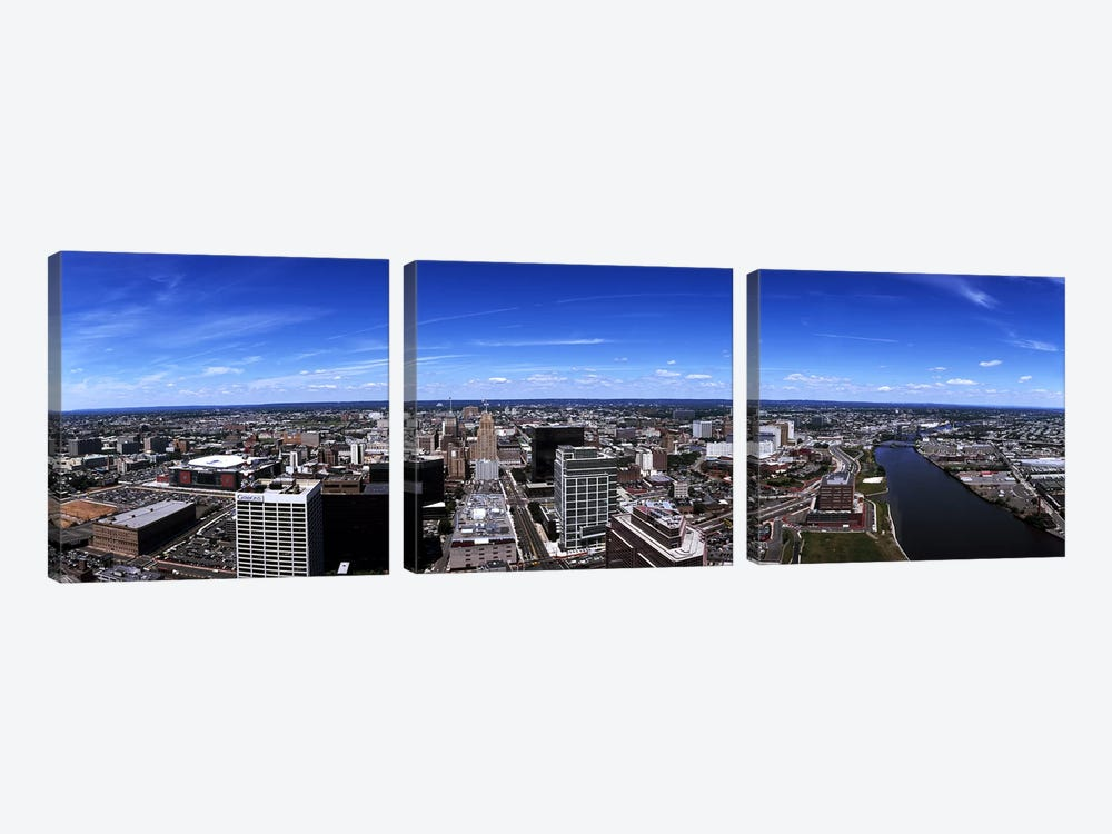 Aerial view of a cityscape, Newark, Essex County, New Jersey, USA by Panoramic Images 3-piece Canvas Art