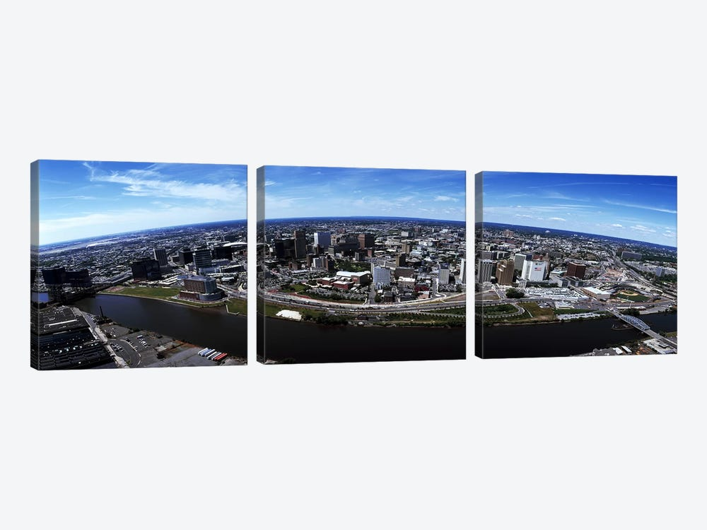 Aerial view of a cityscape, Newark, Essex County, New Jersey, USA #2 by Panoramic Images 3-piece Canvas Artwork