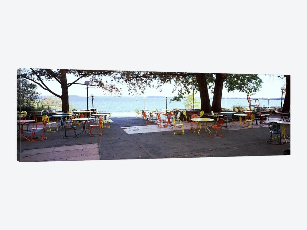 Empty chairs with tables in a campus, University of Wisconsin, Madison, Dane County, Wisconsin, USA by Panoramic Images 1-piece Canvas Print