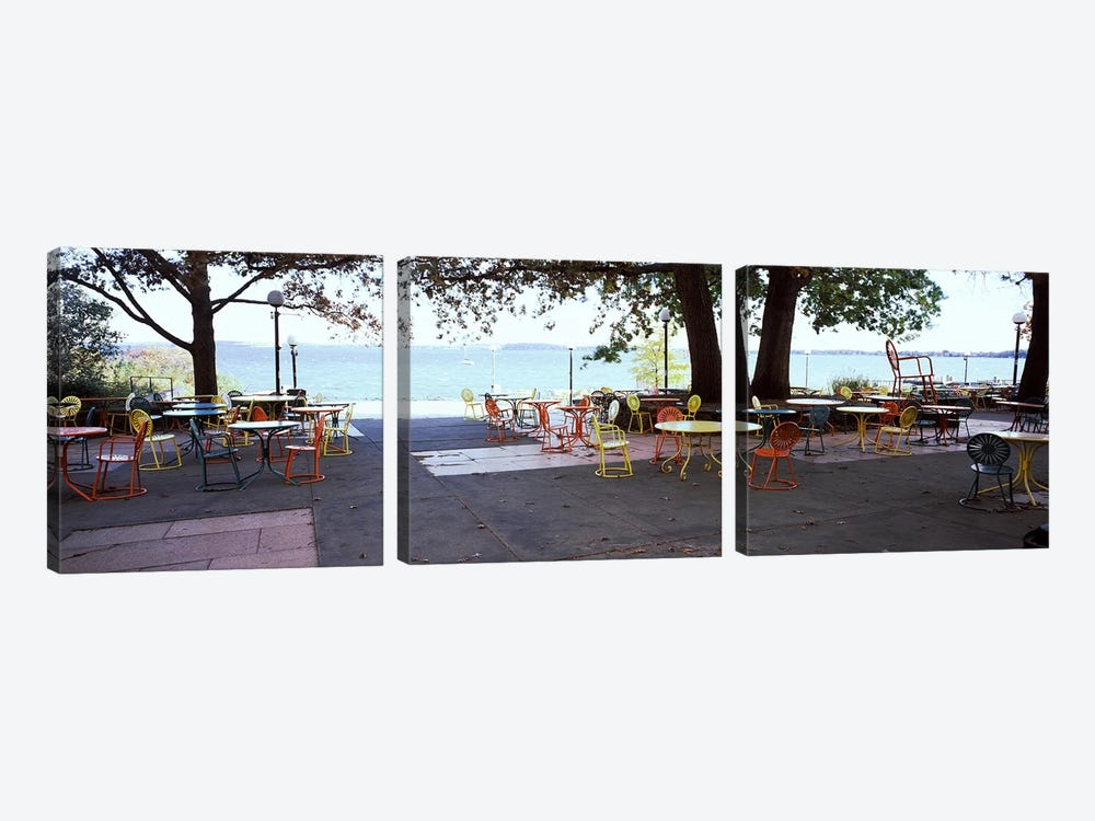 Empty chairs with tables in a campus, University of Wisconsin, Madison, Dane County, Wisconsin, USA 3-piece Canvas Print
