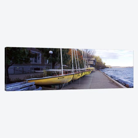 Sailboats in a row, University of Wisconsin, Madison, Dane County, Wisconsin, USA Canvas Print #PIM7192} by Panoramic Images Canvas Art Print