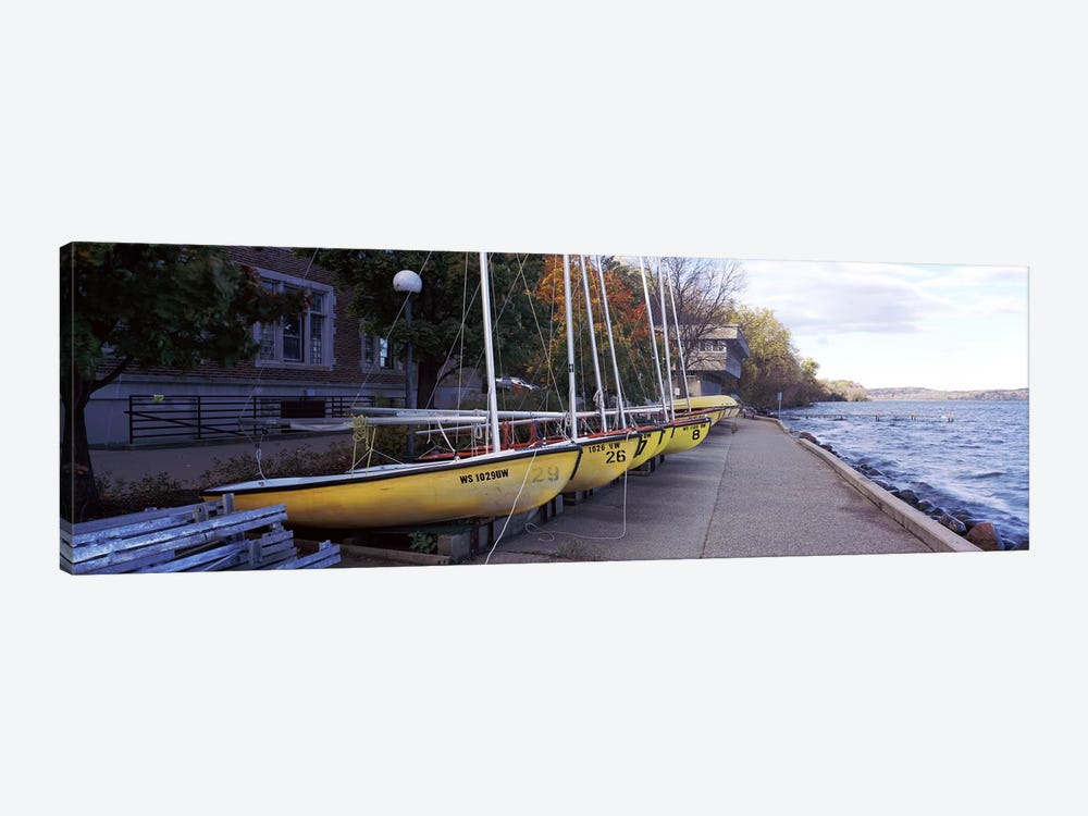 Sailboats in a row, University of Wisconsin, Madison, Dane County, Wisconsin, USA by Panoramic Images 1-piece Canvas Art