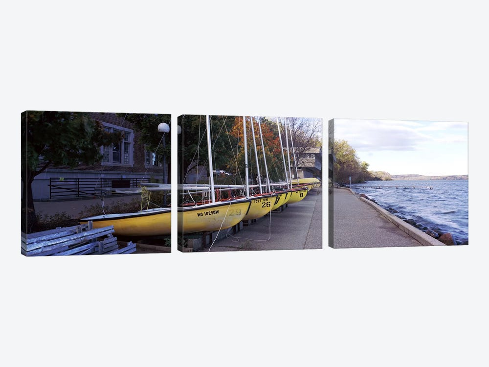 Sailboats in a row, University of Wisconsin, Madison, Dane County, Wisconsin, USA by Panoramic Images 3-piece Canvas Artwork