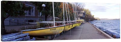 Sailboats in a row, University of Wisconsin, Madison, Dane County, Wisconsin, USA Canvas Art Print